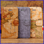 iPhone 5C Map Design Wallet Leather Case