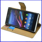 Sony Xperia Z1 Ultra slim leather case with stand