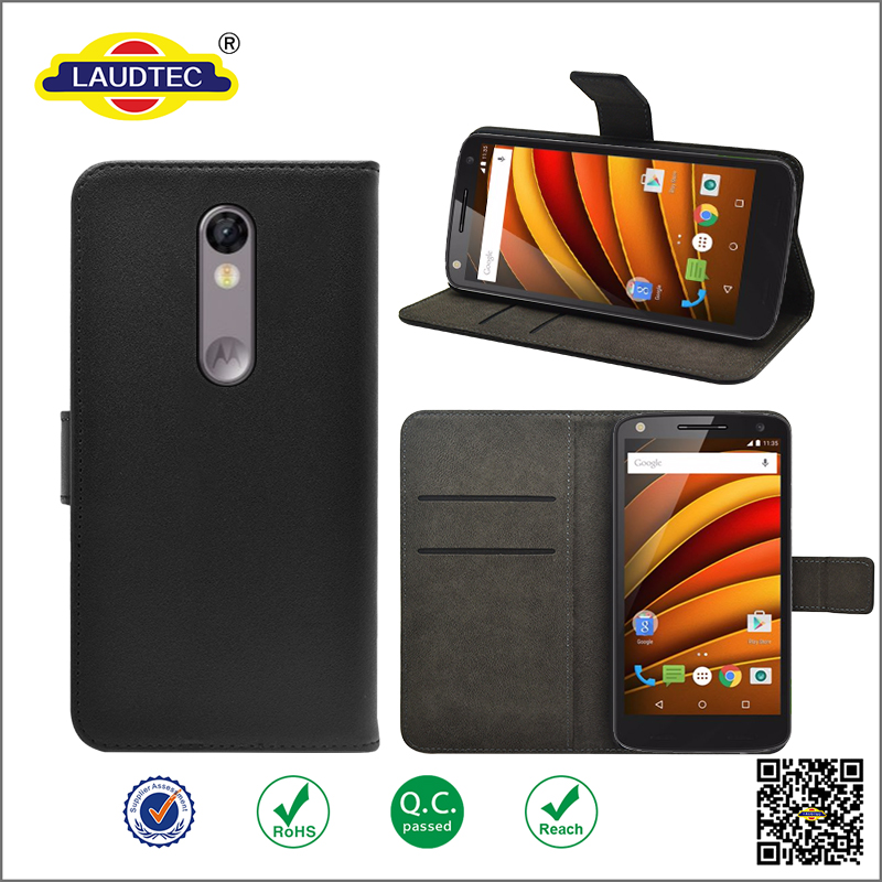Premium PU leather wallet case for moto X force