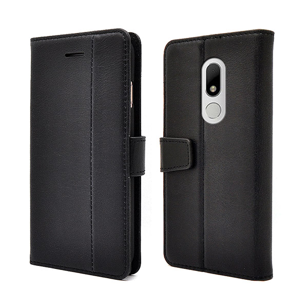 Moto M real cowhide black stitching leather case