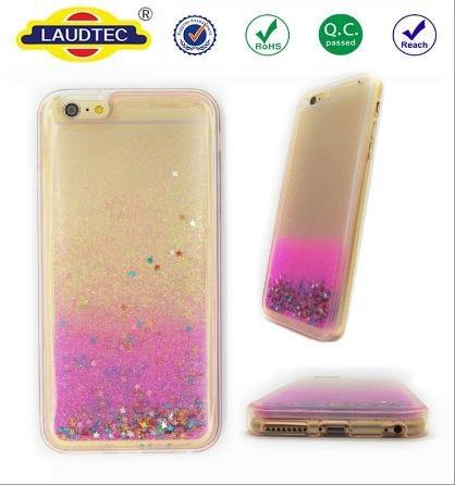 3D Shining Glitter Stars Liquid Quicksand PC + TPU Back Cover Phone Case for iPhone 6
