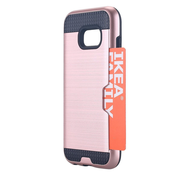2 In 1 brush card slots shockproof case for samsung