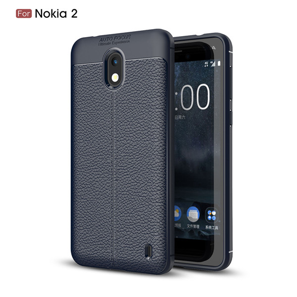 Premium TPU Back Case For Nokia 2 Lichi Leather Mobie Cover