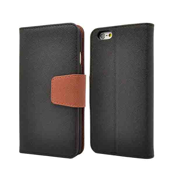 IPhone 6 black leather bookstyle flip case