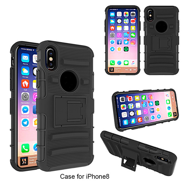 3 In 1 Belt Clip Holster Cover For Iphone 8 Shockproof Mobile Cover