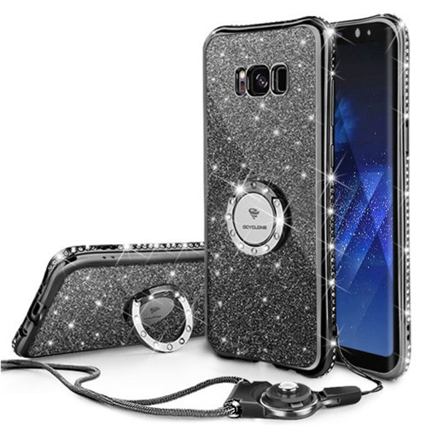 New black TPU case with rings for Galaxry S8