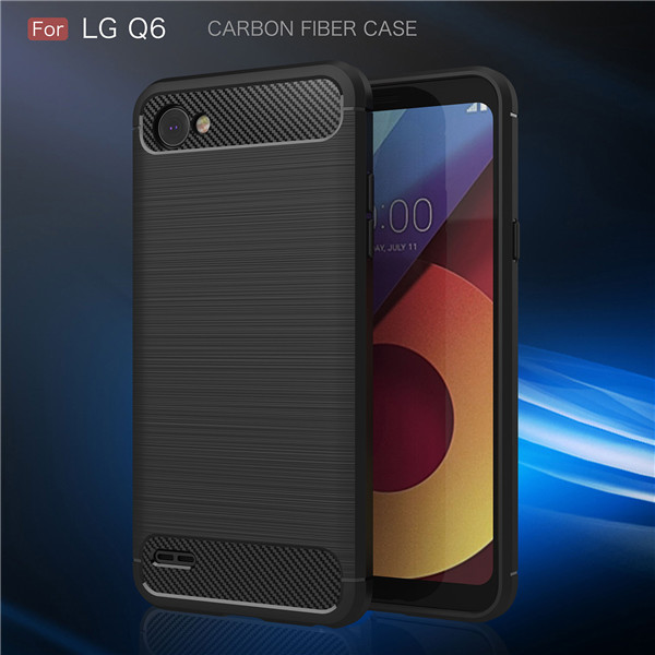 Manufacturer Mobile Cover Carbon TPU Smartphone Shell Phone Case for LG Q6