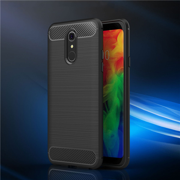 China Manufacturer Brush TPU Carbon Fiber Case Back Cover For LG Q7