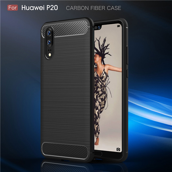 TPU Full Cover For Huawei P20 Carbon Fiber Case