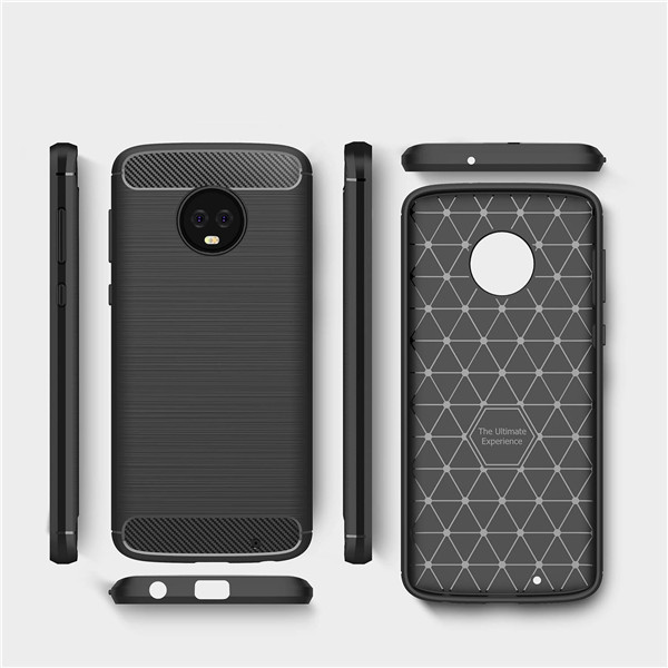 Moto G6 Plus Hot Selling Brush Carbon Silicone Cases