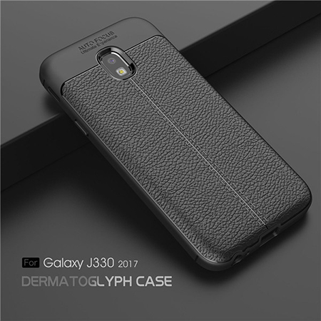 Premium TPU Back Case For Samsung Galaxy J3 2017 Lichi Leather Mobie Cover