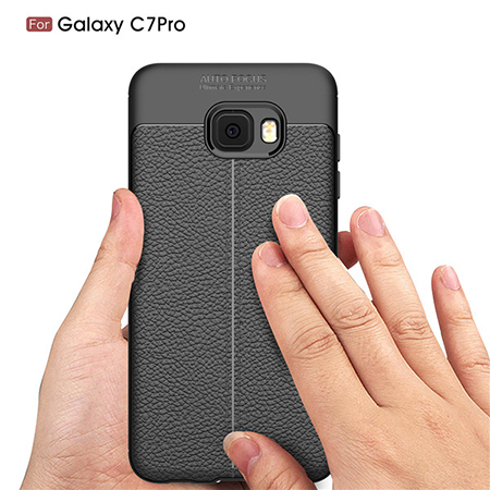 New Arrival TPU Lichi Leather Back Cover Case For Samsung Galaxy c7 Pro