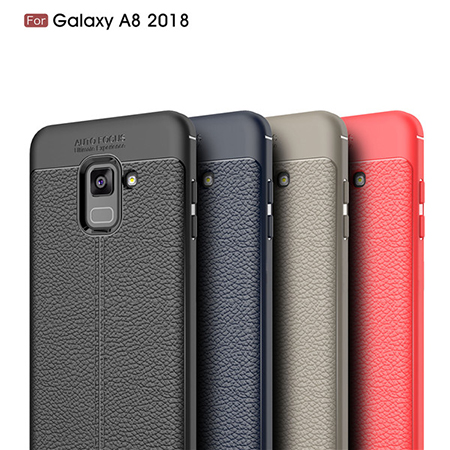 New Arrival TPU Lichi Leather Back Cover Case For Samsung Galaxy A8 2018