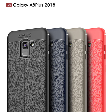For Samsung Galaxy A8Plus 2018 TPU Lichi Leather Pattern Back Cover Case