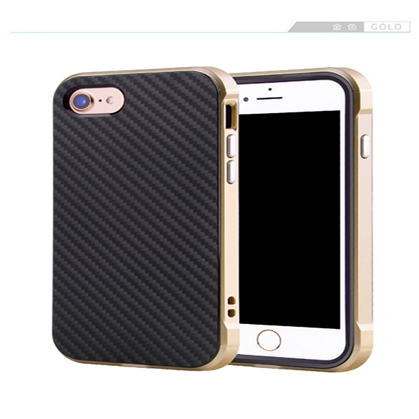 2 in 1 Carbon Fiber PC Back Cover for iPhone 7, Shockproof Mobile Phone Case