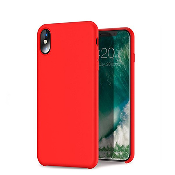 In Stock Liquid Silicone Gel Rubber Shockproof Case with Soft Microfiber Cloth Lining Cushion for iPhone X
