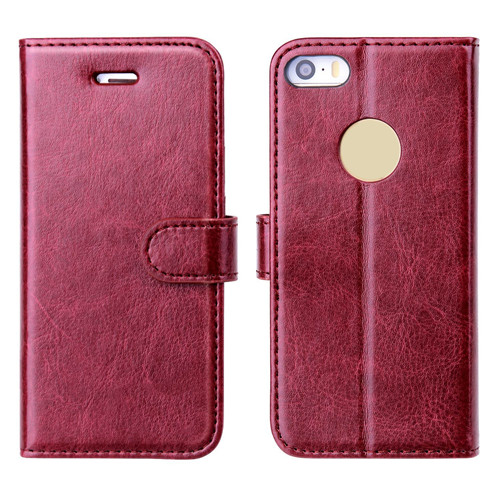 iPhone SE 2 Leather Wallet Mobile Phone Case Reddish Brown 2018
