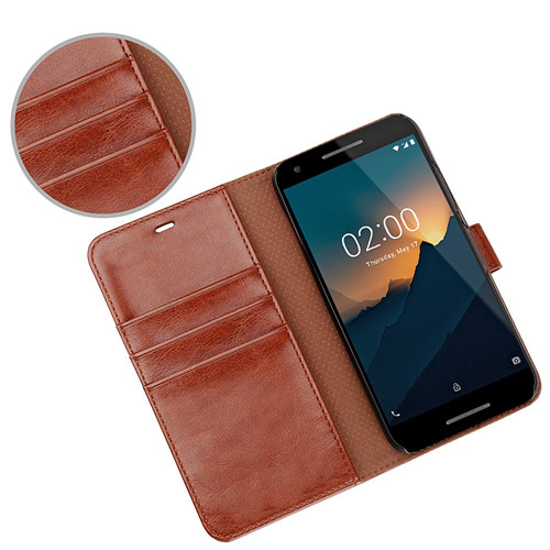 Elegent Brown Flip Leather Case for Nokia 2 2018