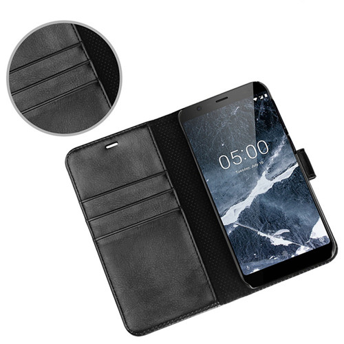 Premium Crystal Polish Leather Wallet Case In Black for Nokia 5.1