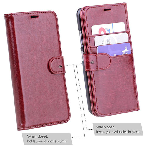 Nokia 5.1 Flip Crystal Polish Leather Case In Red
