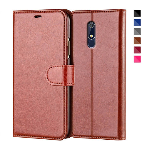 Nokia 5.1 Flip Leather Wallet Case In Brown