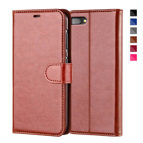 Elegent Brown Flip Leather Case For Blackberry Key 2
