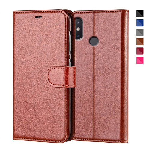 Best Quality Leather Flip Case In Brown For Xiaomi MI8 SE