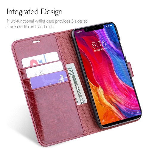 Xiaomi MI8 SE Leather Wallet Case in Reddish Brown