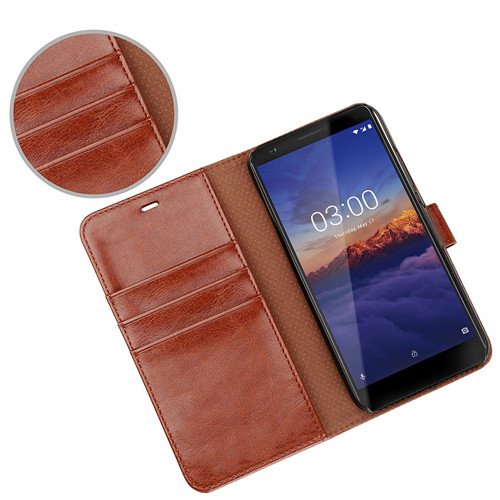 2018 Newest Design Flip Leather Case for Nokia 3 in Brown