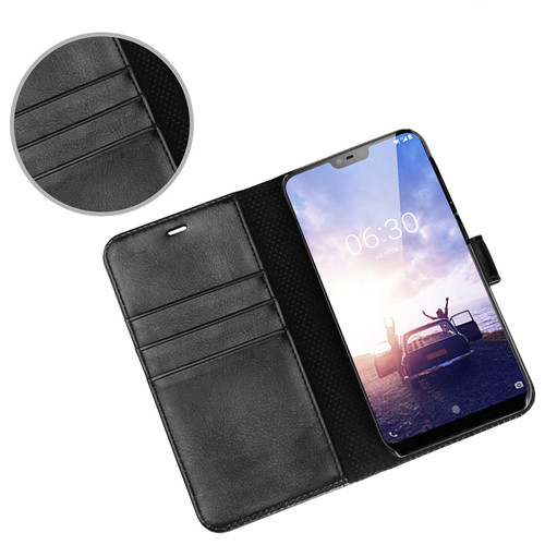 Best Quality Flip Leather Case for Nokia X6 in Classsic Black