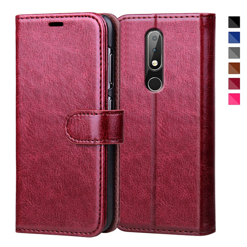 Graceful Reddish Brown Flip Leather Case for Nokia X6 2018