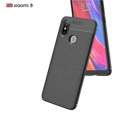 Litchi Parten Soft TPU Carbon Fiber Mobile Phone Case for Xiaomi 8