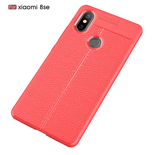New Litchi Parten Soft Carbon Fiber TPU Phone Cover Case for Xiaomi 8 SE