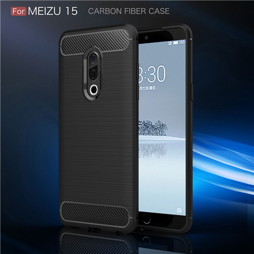 Brushed Silicone Soft Carbon Fiber TPU Phone Cover Case for Meizu 15