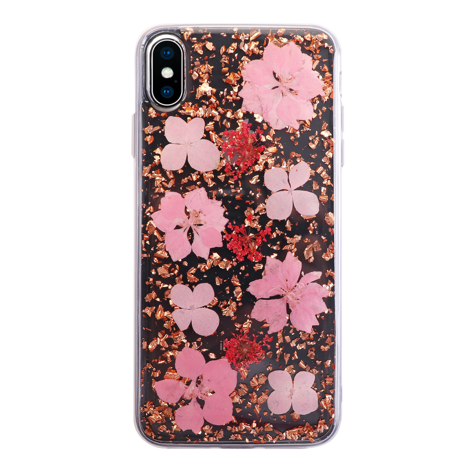 2019 new arrivals clear transparency real floral cell phone case for iPhone models