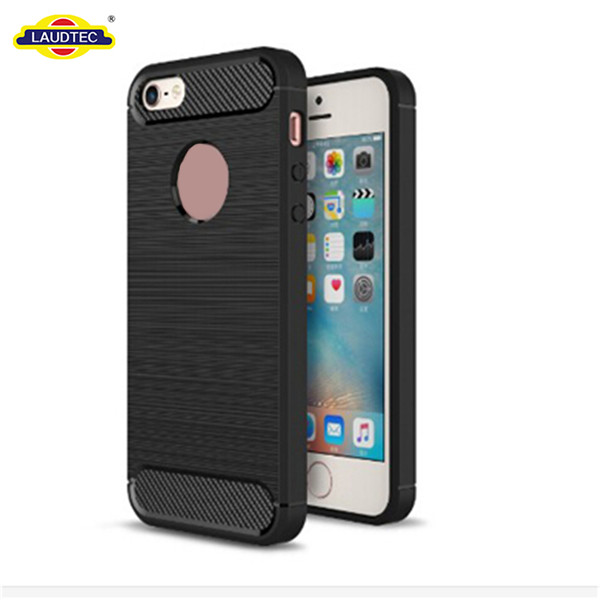 2019 newest For iPhone 5/5S/SE TPU Phone Case,Cell Phone Soft Carbon Fiber Brush Phone Case