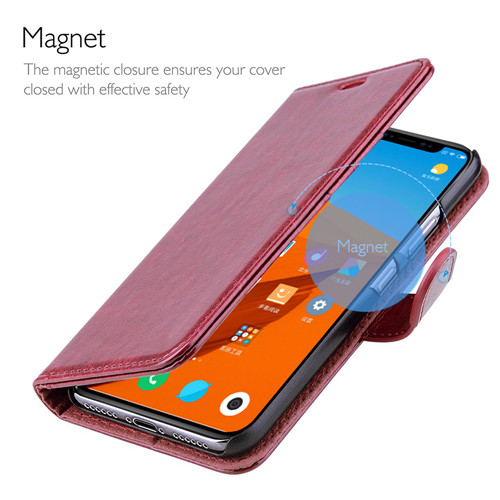 Redish Brown PU Leather Wallet Case For Xiaomi 8