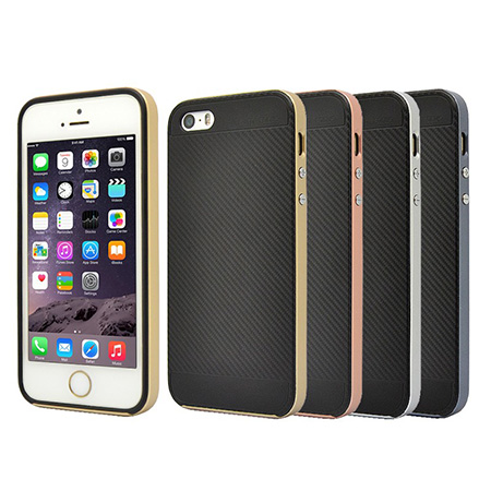 Carbon Fiber Pattern TPU+PC Back Case For iPhone5s
