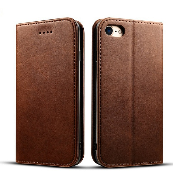Brown tpu cover flip case for iphone 8